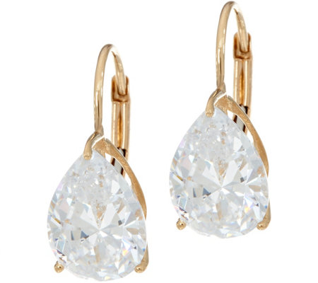 Diamonique 4.00 cttw Pear Leverback Earrings, 14K Gold