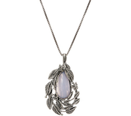 Or Paz Sterling Pear Shaped Agate Pendant with Chain