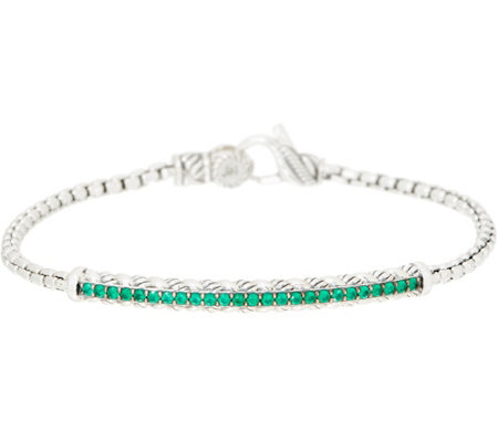 JAI Sterling Silver Box Chain Gemstone Bracelet