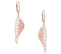 Diamonique Angel Wing Earrings, Sterling or 18K Gold Plated - J353402