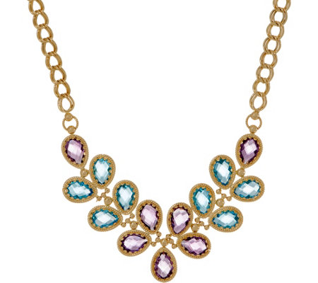 Arte D Oro 18 30 Cttw Floral Gemstone Necklace 18k Gold