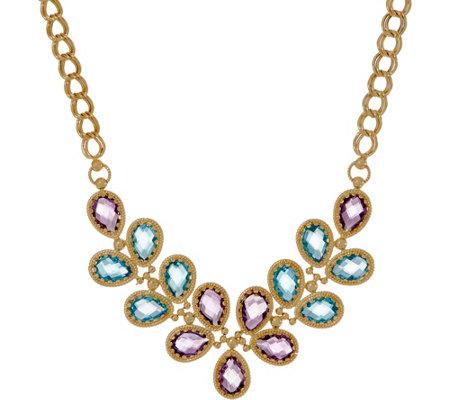 Arte D Oro 18 30 Cttw Floral Gemstone Necklace 18k Gold