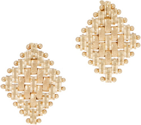Imperial Gold Diamond Shape Satin Stud Earrings 14k Gold