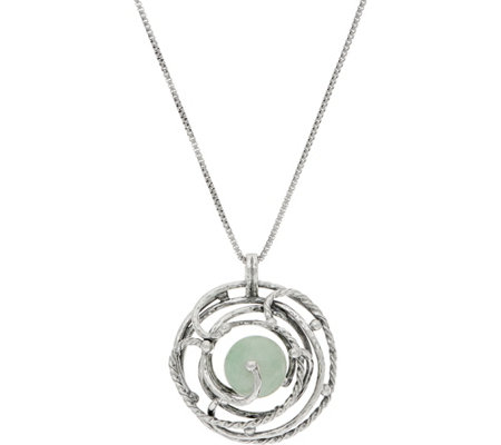 """As Is"" Or Paz Sterling Green Jade Pendant with Chain"