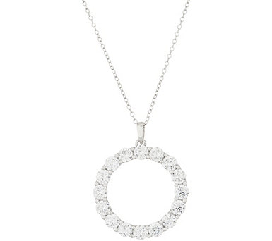 "Diamonique Round Circle Pendant with 18"" Chain, Sterling - J355102"