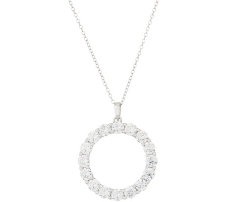 "Diamonique Round Circle Pendant with 18"" Chain, Sterling"