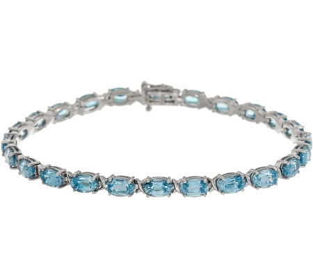 Blue Zircon Oval 8 Tennis Bracelet 16 00 Cttw 14k Gold