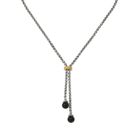 Sterling & 14K Onyx & Diamond Lariat Necklace