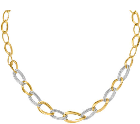 14K Two-Tone Oversized Curb Link Necklace, 9.3g
