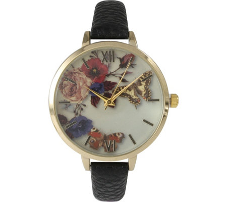 Olivia Pratt Flowers & Butterflies Leather Strap Watch