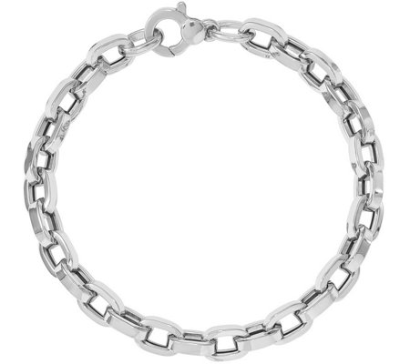 Italian Silver Rectangle Link Bracelet Sterling, 8.6g