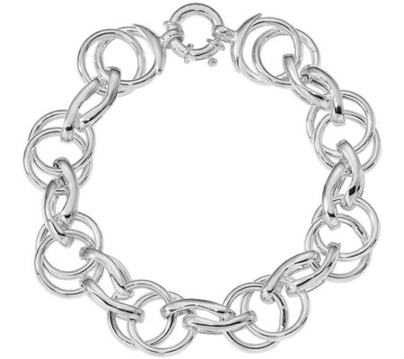 Italian Silver Interlocking Circles Bracelet, Sterling, 23.3g