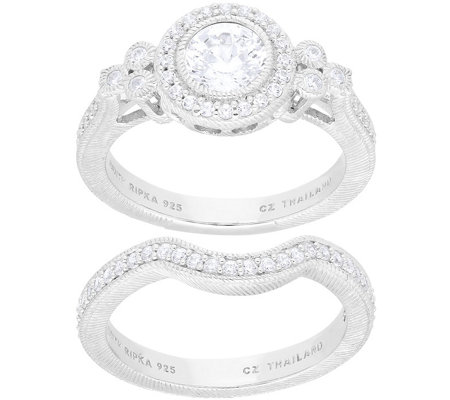 Judith Ripka Sterling Set of 2 Diamonique Rings