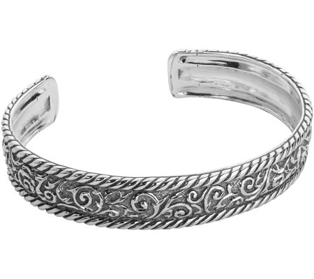 American West Sterling Diamond Cut Scroll Cuff