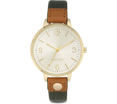 Nine West Ladies Orianah Olive Canvas Strap Watch