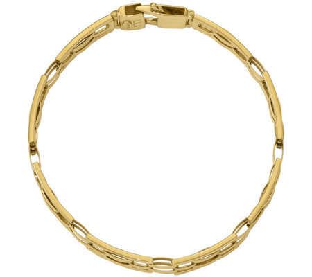 "Italian Gold 8"" Rectangle Link Bracelet 14K, 14.4g"