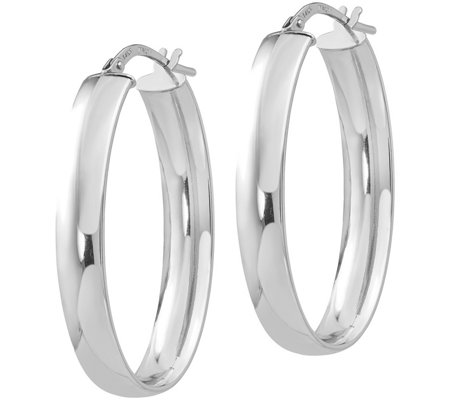 Italian Gold Wide Oval Hoop Earrings, 14K