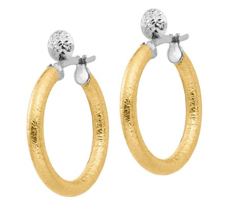 "Italian Gold 1-1/8"" Two-Tone Textured Hoop Earrings, 14K"