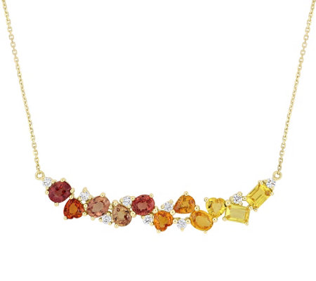 14K Gold 4.90 cttw Yellow & Orange Sapphire Diamond Necklace