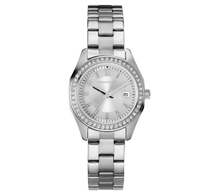Caravelle Women's Stainless Crystal Bracelet Watch