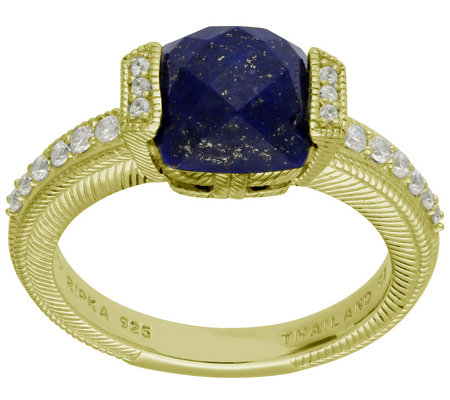 Judith Ripka 14K-Clad Cushion-Cut Lapis & Diamonique Ring