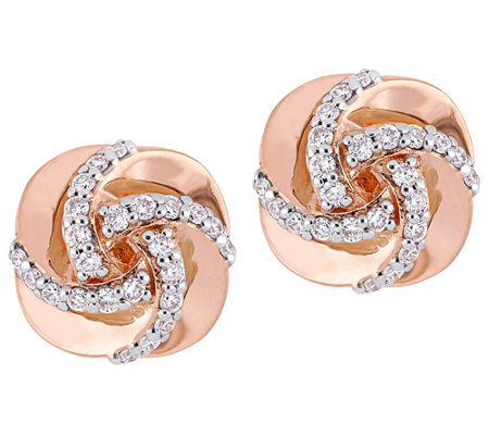 Affinity 14K 1/3 cttw Diamond Swirl Stud Earrings