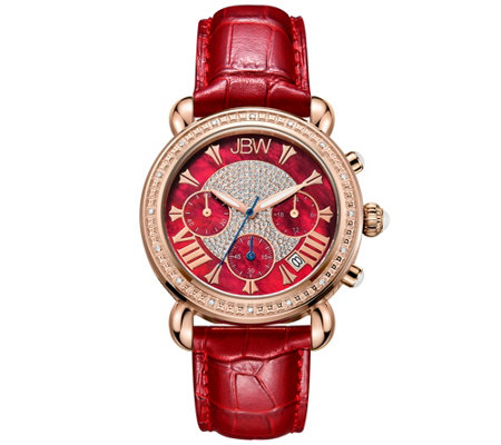 JBW Women's Victory 1/10 cttw Diamond Red Strap Watch