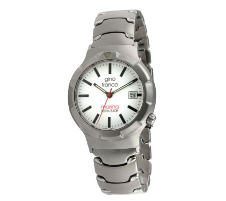Gino Franco Unisex White Dial Stainless Steel Bracelet Watch