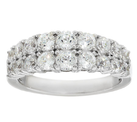Diamonique 100-Facet Double Row Band Ring, Platinum Clad