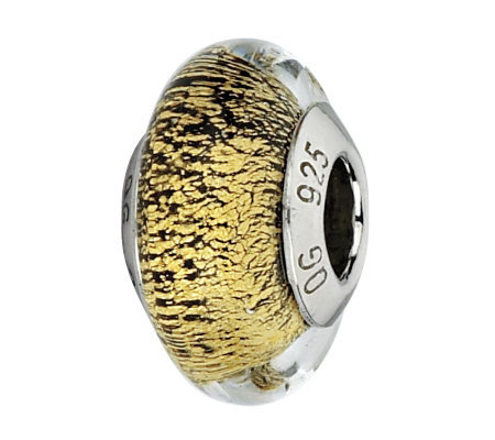 Prerogatives Gold with Black Specks Italian Murano Glass Bead