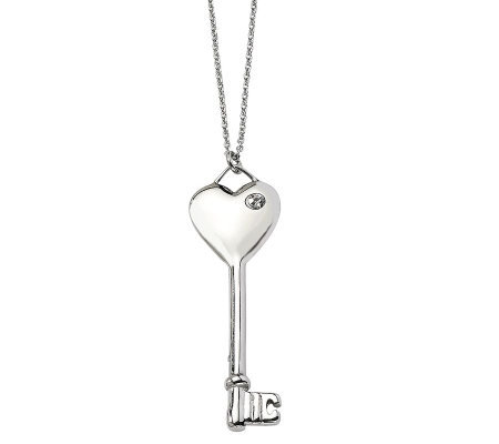 "Stainless Steel Heart Key Pendant w/ 20"" Chain"