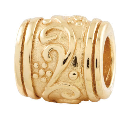 Prerogatives 14K Yellow Gold-Plated Sterling Floral Bead