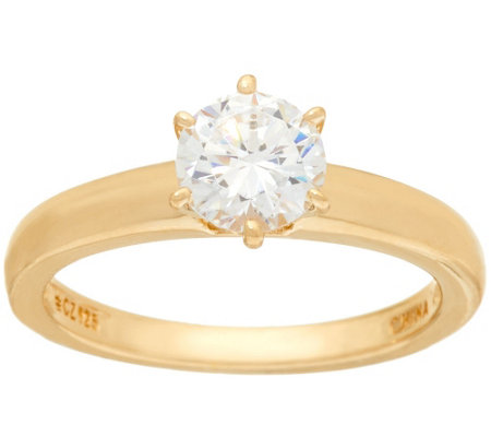 Diamonique 1.00 cttw Solitaire Ring, 14K Yellow Clad