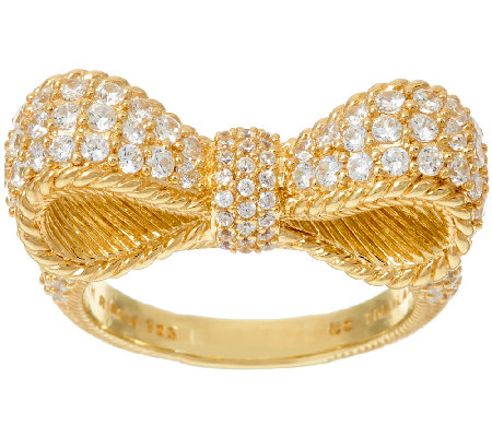 Judith Ripka 14K_Clad 1.45 cttw Diamonique Pave' Bow Ring