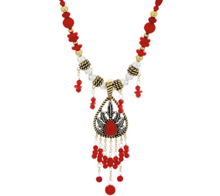 American West Sterling/Brass Coral Necklace & Enhancer