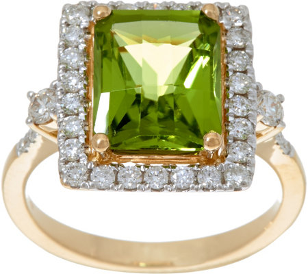 Octagon Cut Peridot & Diamond Ring 14K Gold 3.00 ct