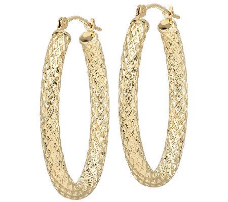 Eternagold Oval Basket Weave Hoop Earrings 14k Gold
