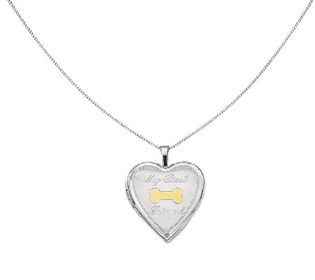 "Sterling 18"" Two-Tone Dog Bone Heart Locket Necklace"