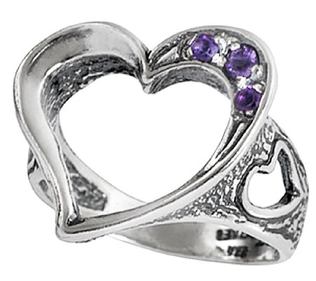 Or Paz Sterling Silver Open Heart Amethyst Ring