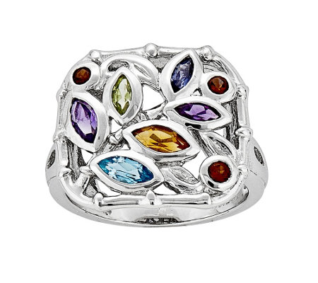 Sterling Multi-Gemstone Bamboo Ring