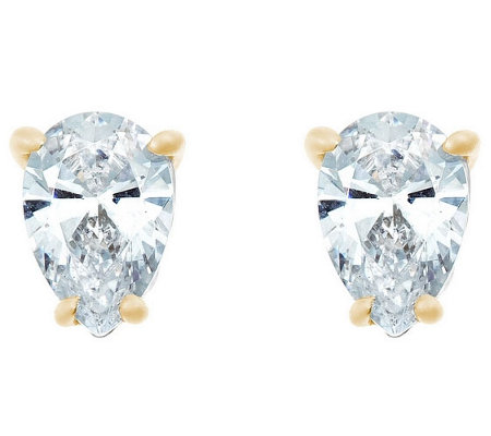 Pear Diamond Stud Earrings, 14K Yellow, 1/2cttw, by Affinity