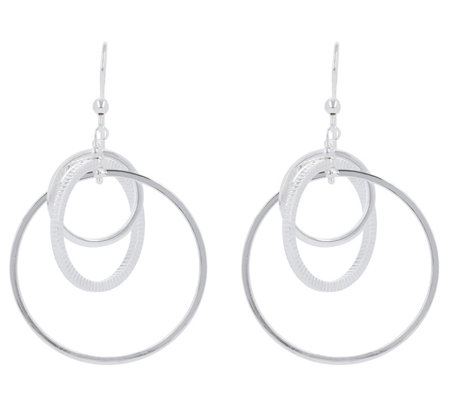 Ultrafine Silver Polished & Textured Dangle Earrings
