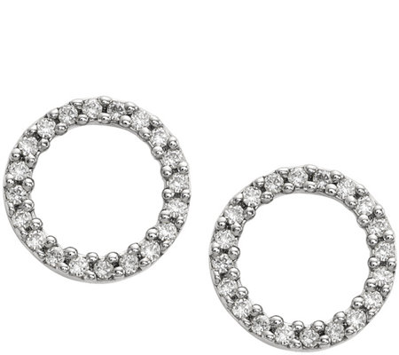 Dainty Designs 14K Diamond Accent Open Circle Earrings