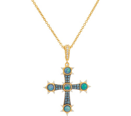 Judith Ripka 14K Clad Opal Doublet Cross Enhancer with Chain