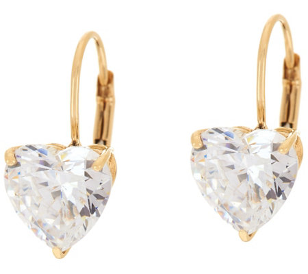 Diamonique 4.00 cttw Heart Leverback Earrings, 14K Gold