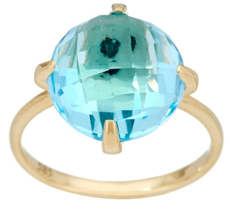 Italian Gold Faceted Gemstone Ring, 14K Gold
