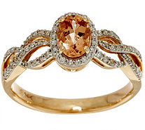 Oval Imperial Topaz & Pave' Diamond Ring 14K Gold 0.75 ct - J350103