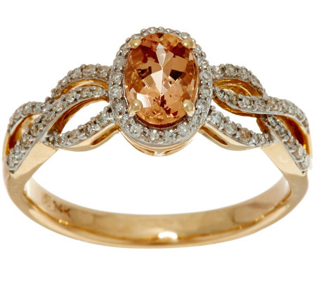 Oval Imperial Topaz & Pave' Diamond Ring 14K Gold 0.75 ct
