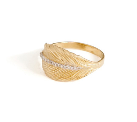 Adi Paz Diamond Accent Leaf Ring 14K Gold