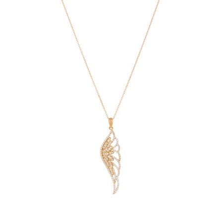 Diamonique Angel Wing Pendant with Chain, Sterling or 18K Plated